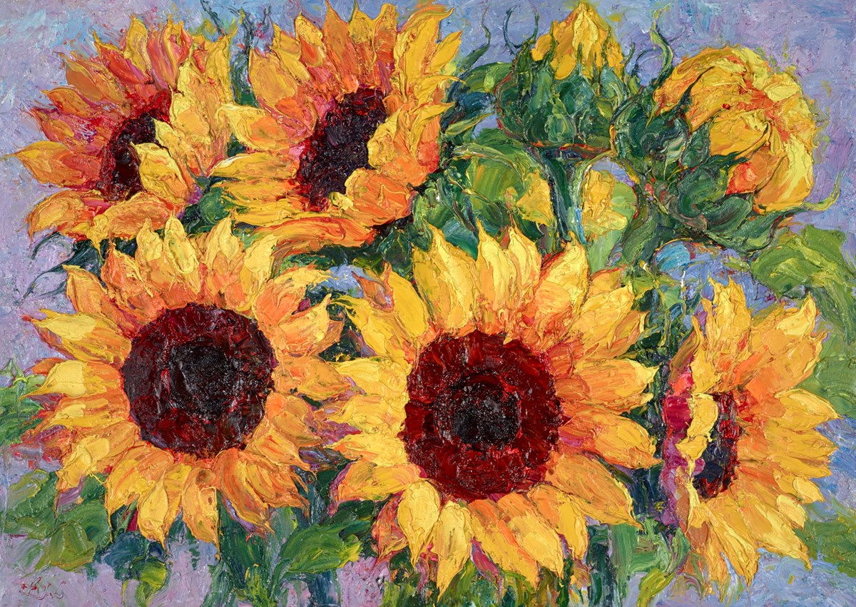 Sunflowers III by lana okiro -  sized 28x20 inches. Available from Whitewall Galleries